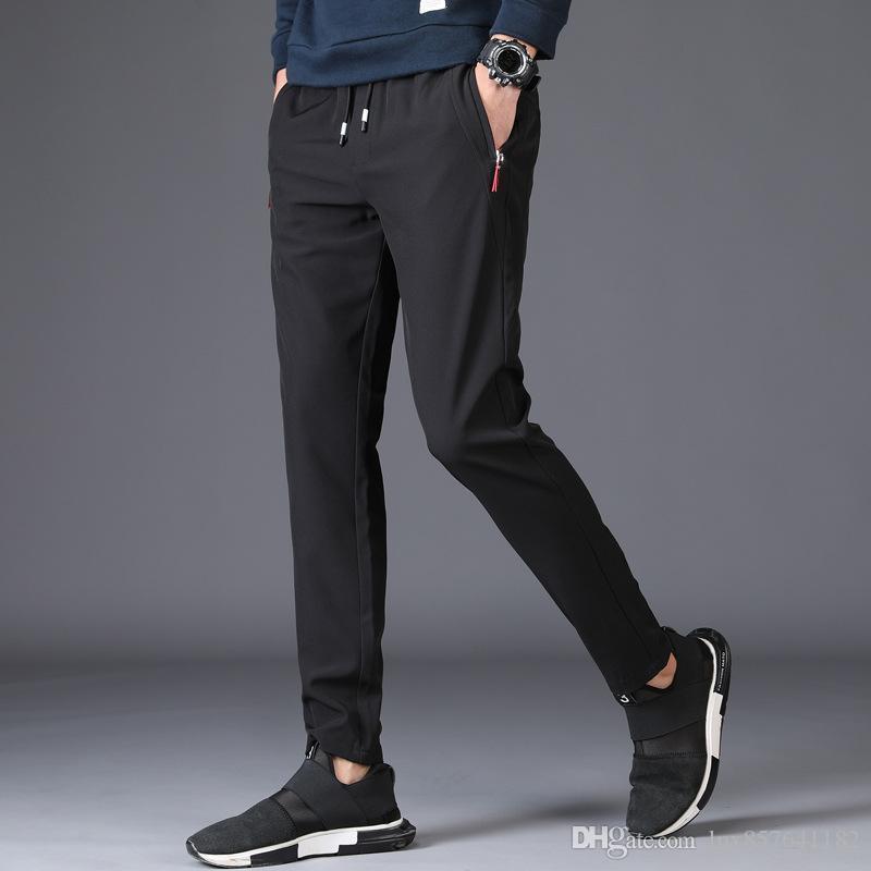 Весна осень мужские бегуны брюки повседневные брюки с твердыми лодыжками молодые люди мужские брюки плюс размер