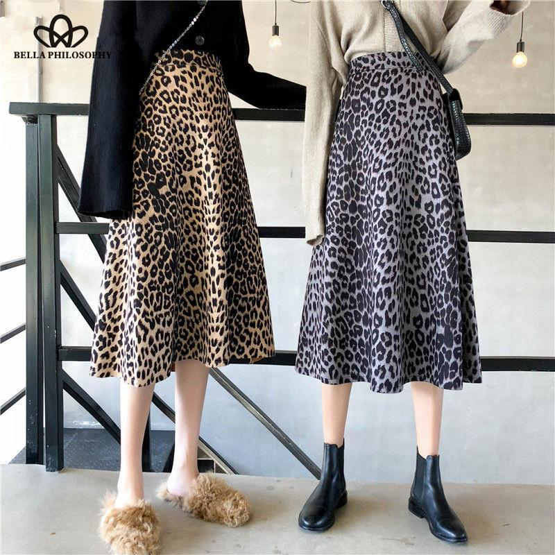 Bella Philosophy Wonder 2020 Spring A-line Leopard Animal Print Korean Skirts Vintage Lady High Waist Female Fashion Midi Skirts