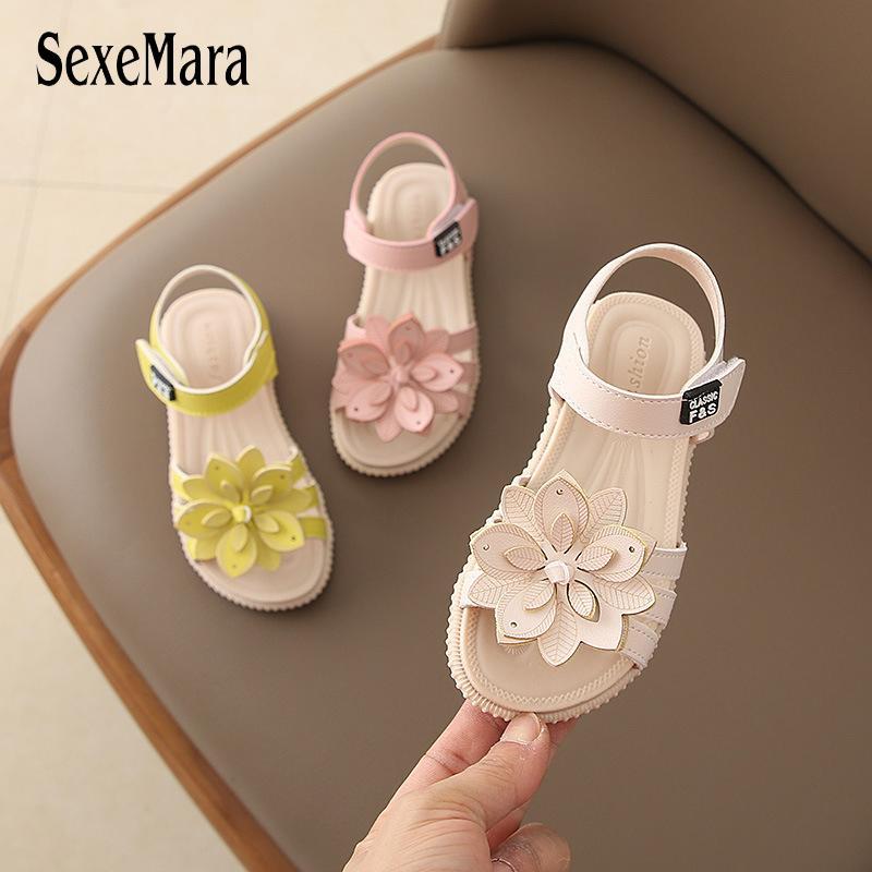 Baby Girl Crianças sandálias de couro sandálias novas Meninas de Verão Kids Shoes Flower Child Sandals WhiteYellowPink Sapatas das meninas C05221