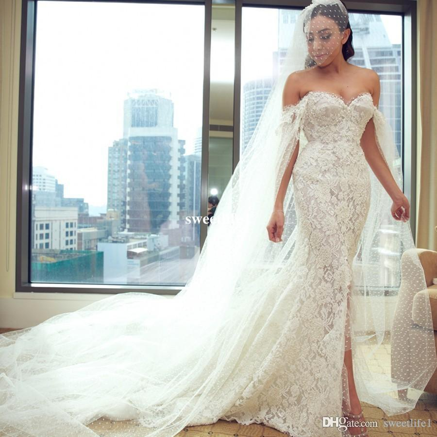 Herrliche weg von der Schulter Mermaid Brautkleider Perlen vorne Split Garten plus Größen-Brautkleid nach Maß reizvolles Brautkleid