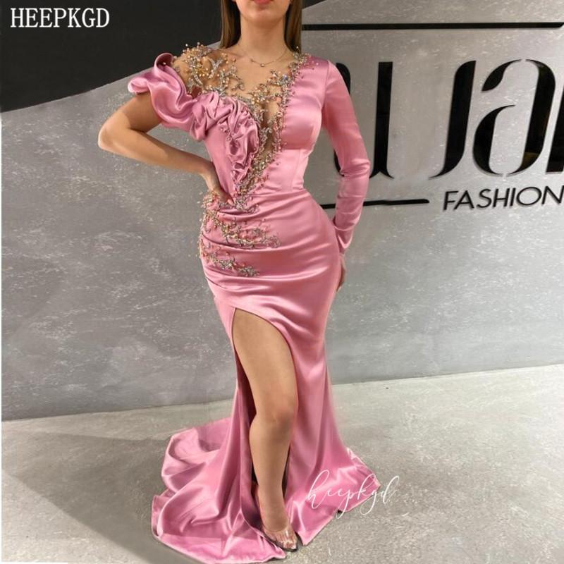 Cristais Dusty Rose Mermaid Árabe Vestido manga comprida fenda alta Chic Wedding Party Sexy Vestidos Personalizar Abendkleider