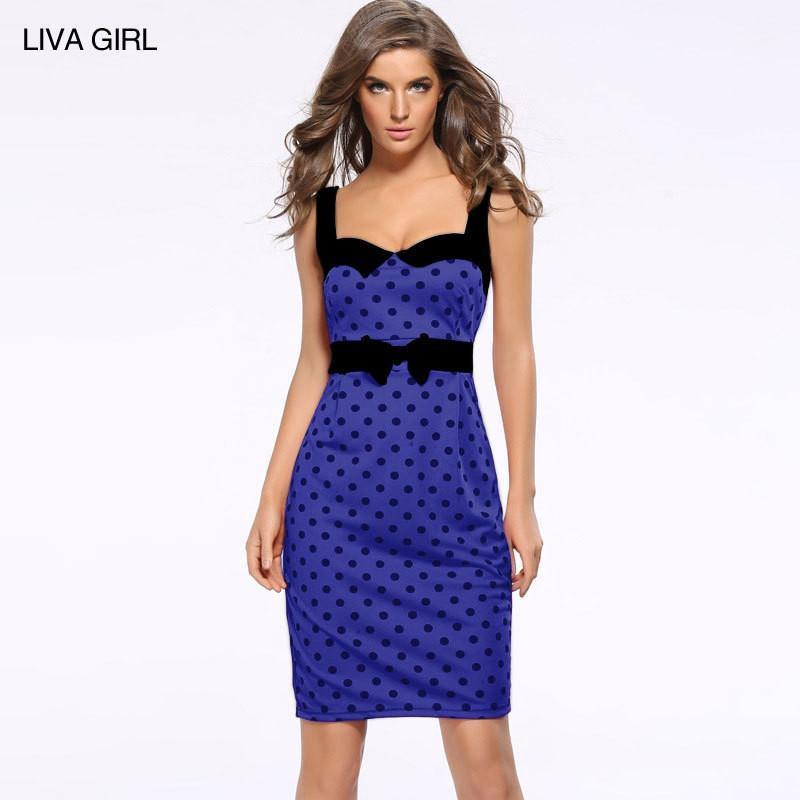 Atractiva de las mujeres de Bodycon de los vestidos de arco de la cremallera de moda del lunar Imprimir Vestimenta para mujer encima longitud de la rodilla Vestido lápiz