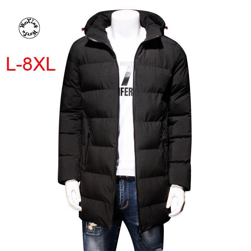 Woxingwosu men's hooded parkas thick cotton coat fat winter jacket big size L to 4XL 5XL 6XL 7XL 8XL