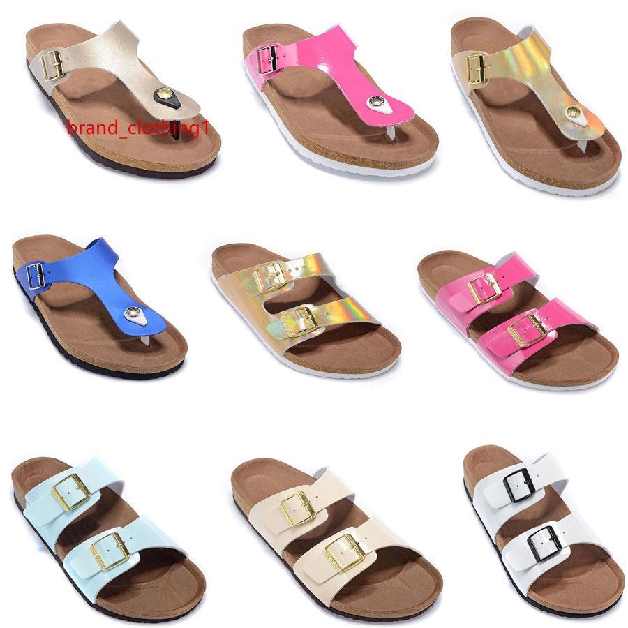 новый цвет стиль моды для мужчин S женщина плоские сандалии удобные повседневные две пряжки с обувной коробкой летний пляж коровья кожа тапочки унисекс стиль