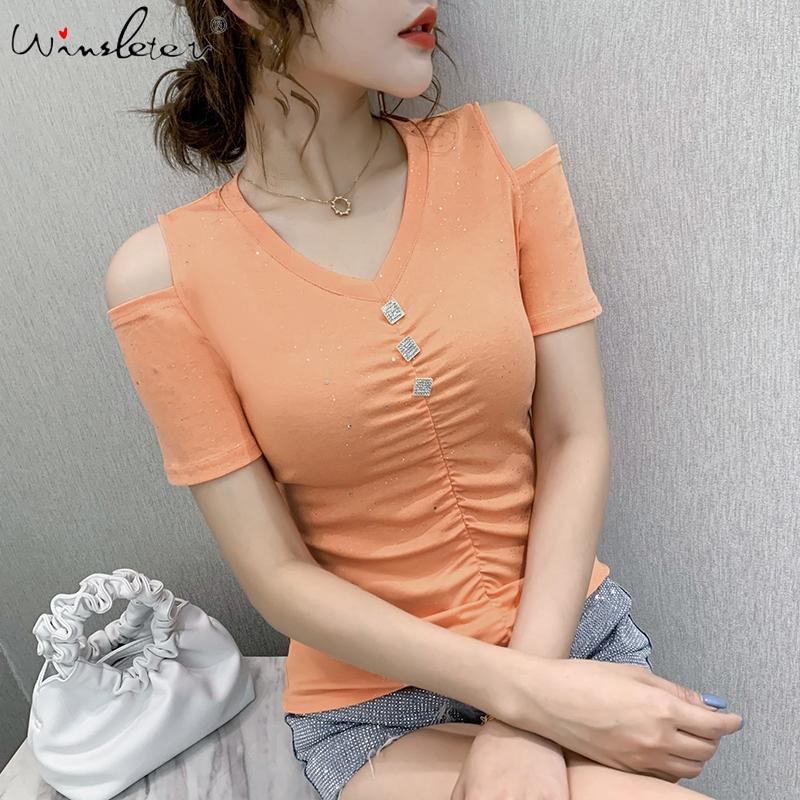 Roupa coreano verão T-shirt do botão da forma Sexy brilhante V-Neck Off Shouder Mulheres Tops Ropa Mujer Cotton Tees 2020 New T06305
