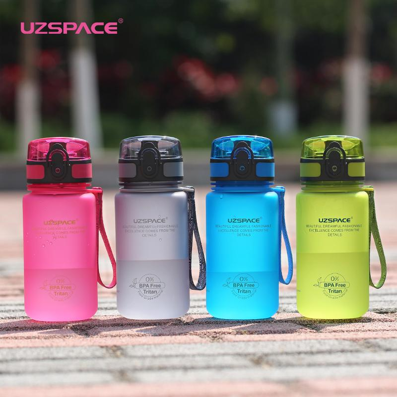 UZSPACE 350ml Sport Bouteille d'eau Kid Belle écologique LeakProof de haute qualité en plastique Visite bouteille Portable ma boisson Sans BPA Y200107