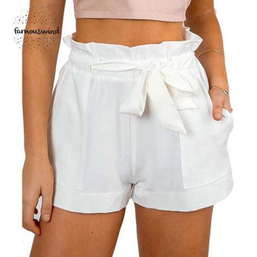 Lady Femmes Shorts Sexy volantée volantée Mini taille haute dames Shorts Parti Plage Bow Shorts Pantalons solides
