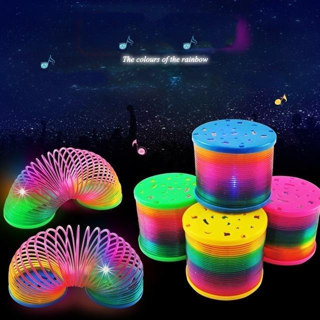 Magic Plastic Slinky Lighted Rainbow Spring Color Random Children Funny Flash Classic Toy Educational Toys