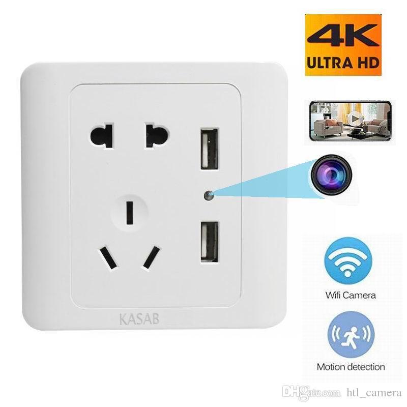 2 USB Duvar Fiş Şarj Mini Kamera HD 4 K / 2 K / 1080 P WIFI Kablosuz Dijital Video Kaydedici Ofis / Ev Securite Mobile App Uzaktan Nany DVR