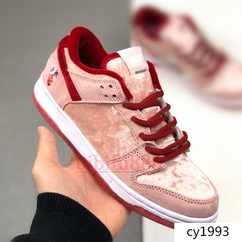 Новые мужские женские дизайнерские туфли StrangeLove SB Dunk День Святого Валентина розовый низкий скейтборд Повседневная обувь высокое качество спортивные кроссовки Кроссовки 36-44