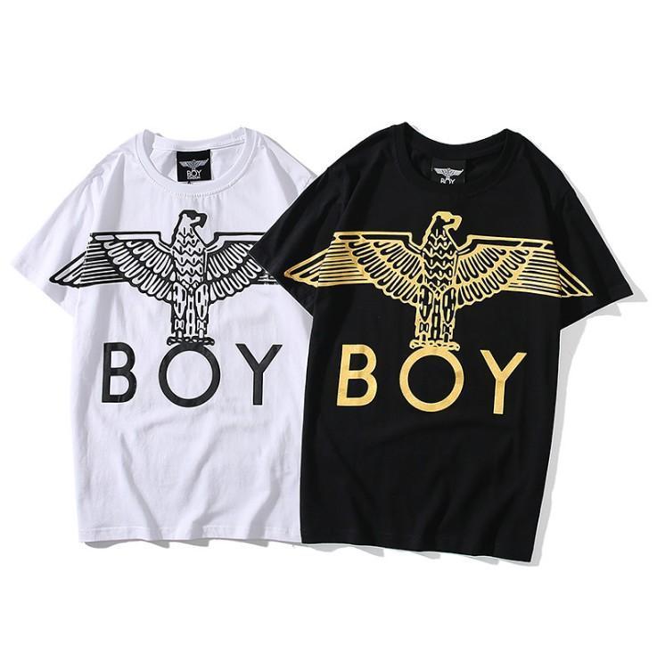 Imprimir BOY TEE Águila camiseta de los hombres de las mujeres de Londres Negro algodón blanco diseñador de la camiseta del cuello de equipo del verano camisetas