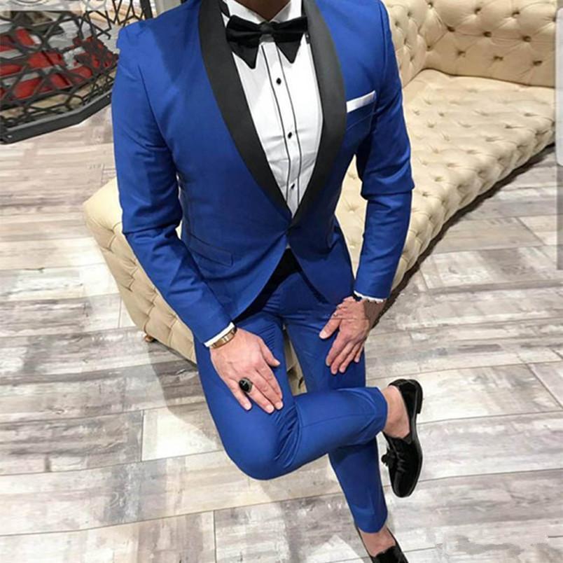 Tout être cher Bouton Groomsmen Shawl Lapel smokings marié hommes Costumes de mariage / Prom / Dîner Best Man Blazer (veste + pantalon + cravate) A667