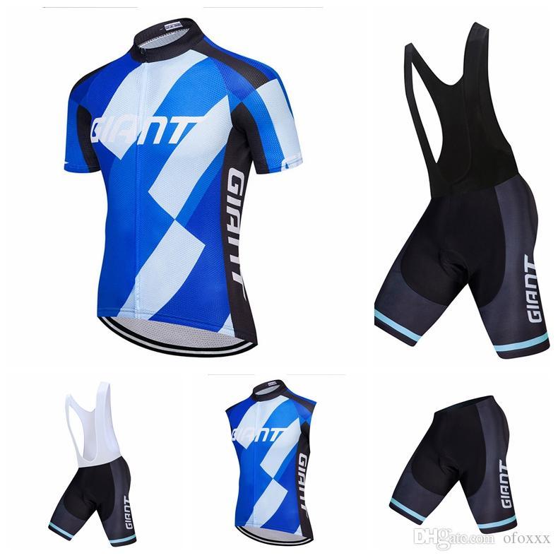 남성 사이클링 GIANT 팀 사용자 정의 여름 짧은 소매 / 소매 턱받이 반바지 / 반바지 야외 스포츠 유니폼 세트 전체 지퍼 S81345