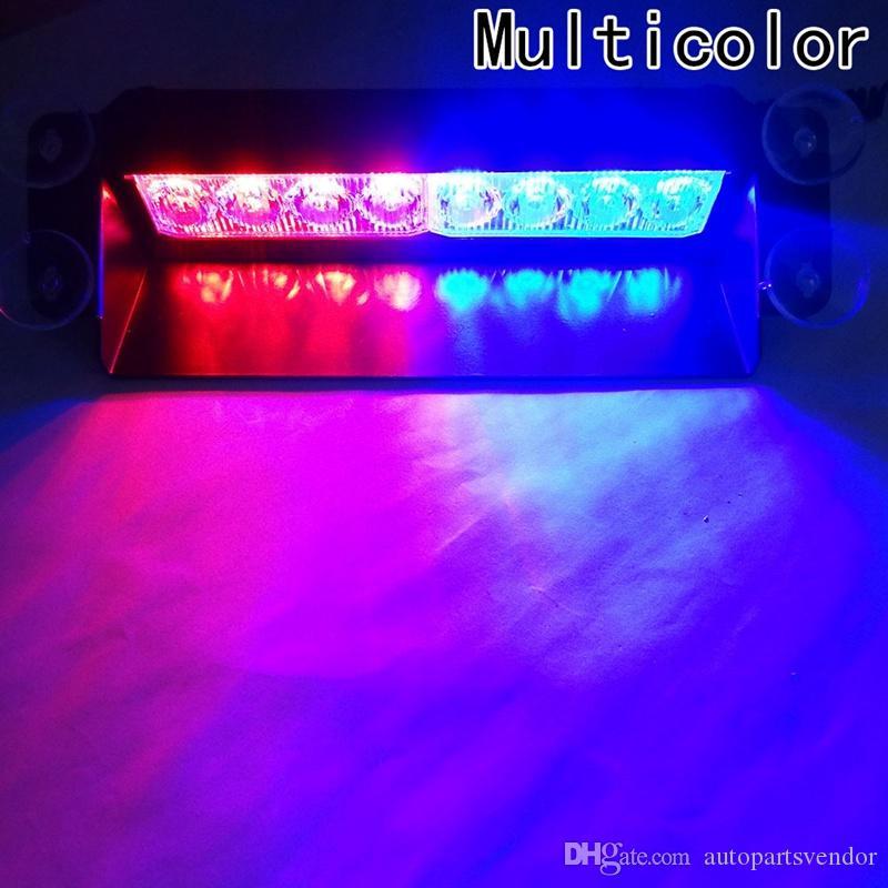 8 LED para el tablero de coches estroboscópicas luces de destello azul / rojo las luces de destello de la policía de emergencia Luz de advertencia de la lámpara de la lámpara LED parpadeante en el parabrisas del lechón