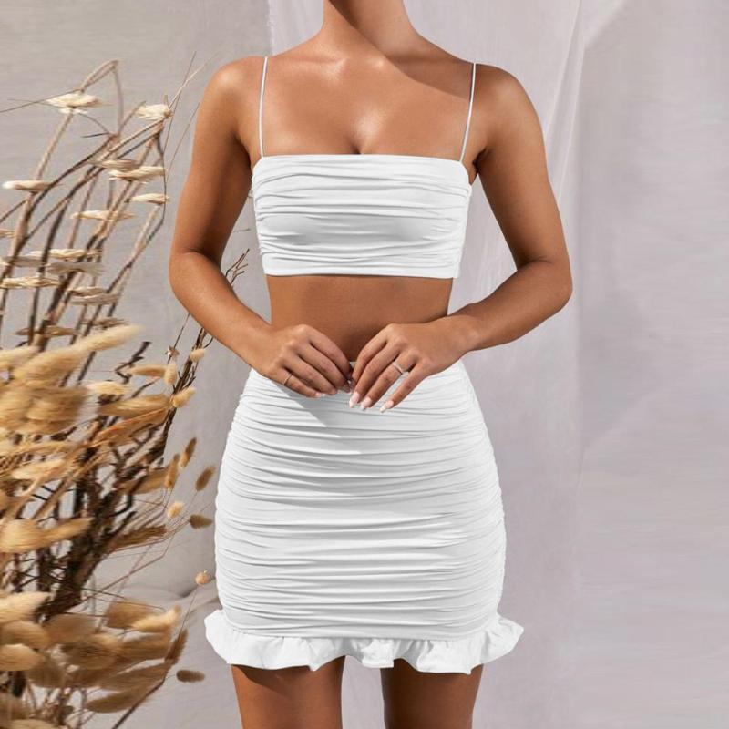 Summer 2020 Women Set Spaghetti Strap Crop Top White Sexy Mini Bodycon Skirt Ruffles Party Outfit Club Two Piece Sets