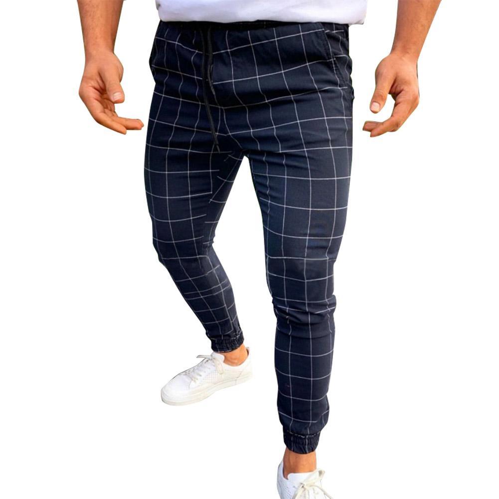 HOT Мужчины Брюки Повседневный Тощий Беговая Joggers Slim Fit Tracksuit Пот плед карандаш штаны Длинные брюки 19ING