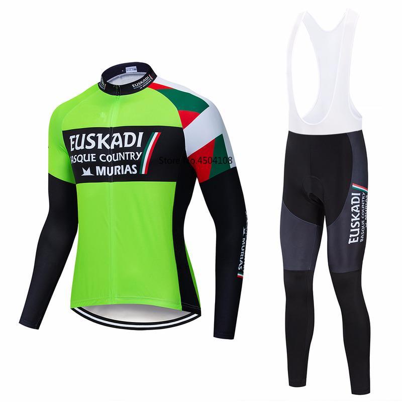 봄 가을 2020 프로 팀 사이클링 녹색 저지 남성 긴 소매 사이클링 천 MTB 저지 젤 패드