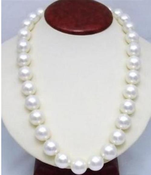 20 inch enorme 10-11mm South Sea White Pearl Necklace 14k Gold Clasp