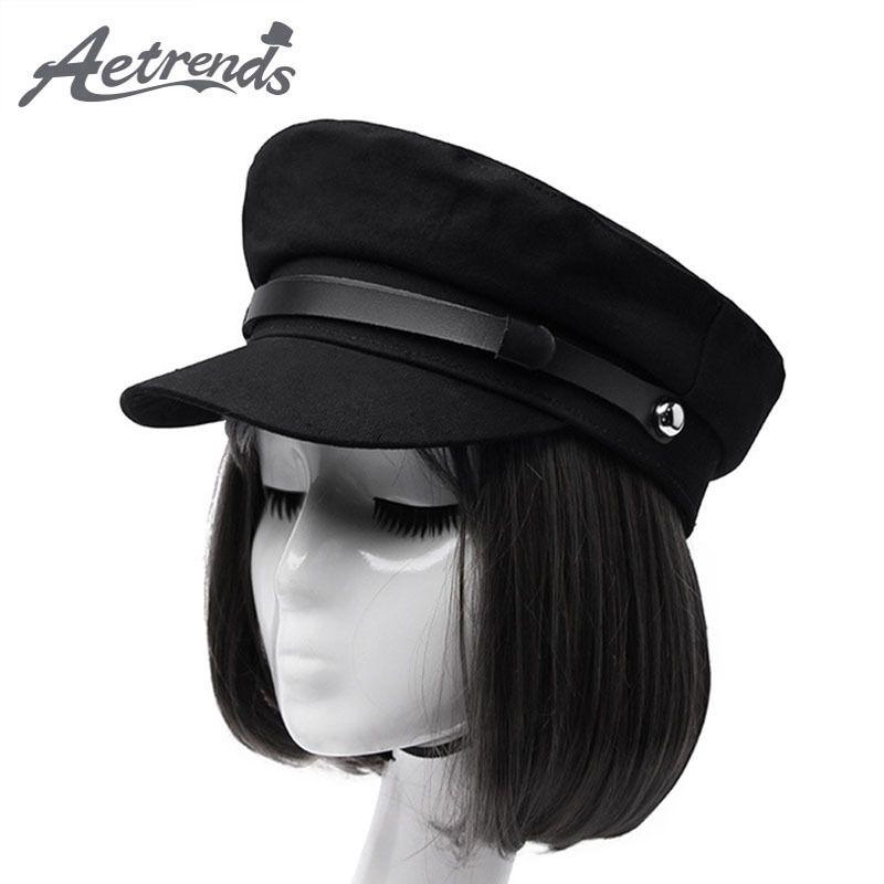 [AETRENDS] Black Military Caps Mode Hüte für Frauen flache Kappen Armee Salior Military Hat Z-6704 Y200103
