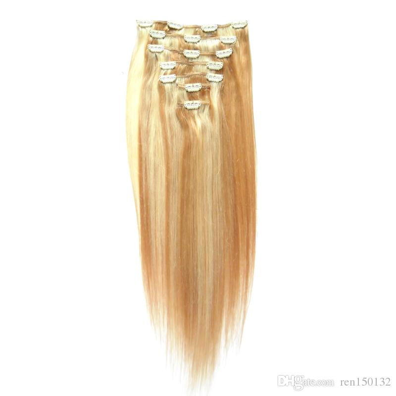 Clips In Human Hair Extensions 8pcs 100g/Set Straight Clip in Human Hair Extensions Remy Hair