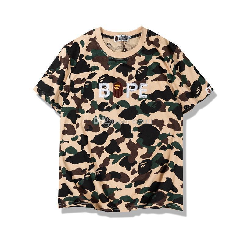 Bape neue Art und Weise Mens-Stylist-T-Shirt Mens Casual-Rundhalsausschnitt mit kurzen Ärmeln Paare Qualitäts-Baumwolle Tees