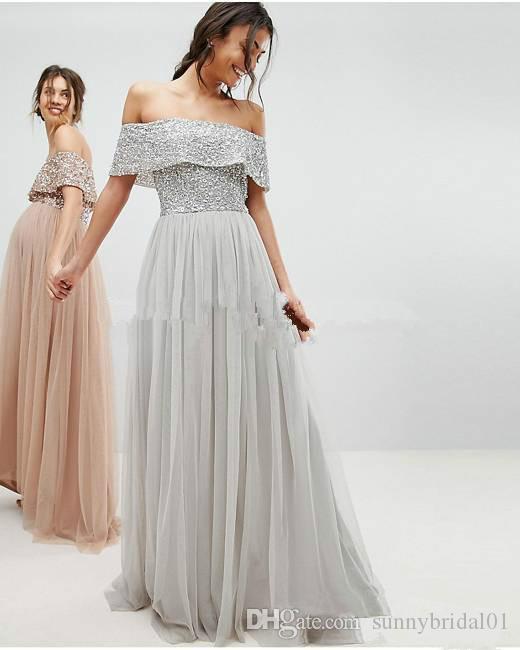 어깨 명예 드레스 저렴한 가운 드 처녀 디부 honneur의 장식 조각 메이드 오프 케이프 섹시한 함께 국가 실버 출산 신부 들러리 드레스