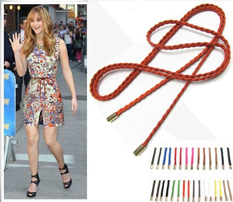 Moda Cuoio solido corda sottile cintura in vita Cintura Donne vita bella Tatuaggi Donna a Colori Candy