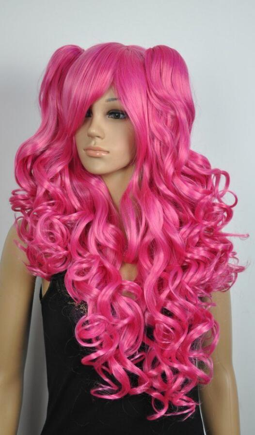 WIG Hot heat resistant Party hair>>>Lolita fashion hair anime show big waves mei red cartoon wig + 2 big pony tail