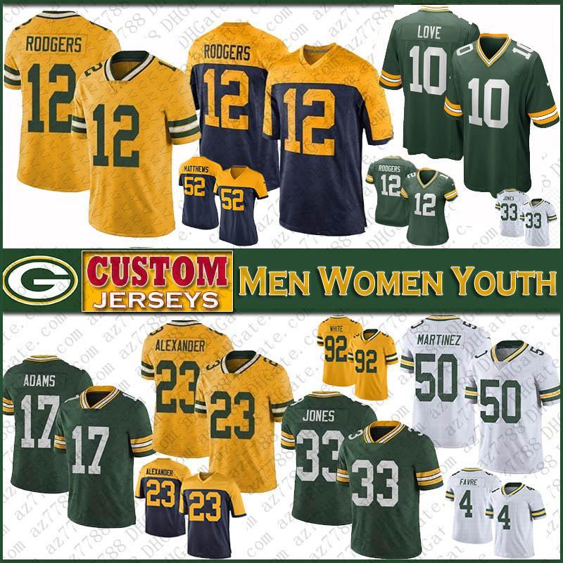 12 Aaron Rodgers verdeBahíaDe Hombres Mujeres Niños PackerEl fútbol de los jerseys 33 Aaron Jones 17 Davante Adams 87 Jordy Nelson 10 Amor