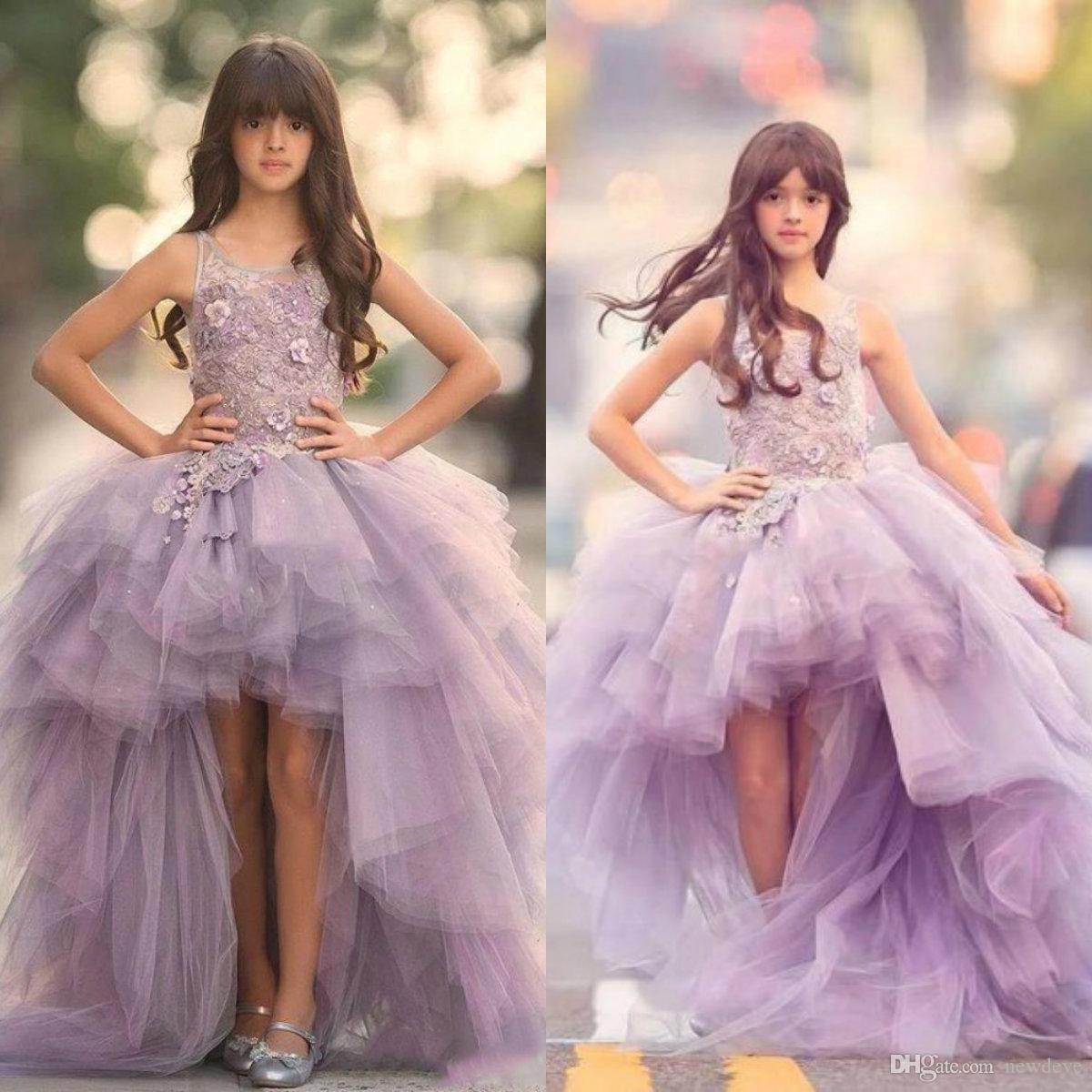 2020 Alta Baixa Flor Meninas Vestidos para Casamentos Meninas Jewel Pageant Vestido para Adolescentes Lace Appliqued Tiered Tulle Comunhão Vestidos