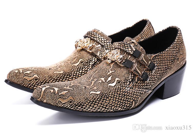 2020 Designer Luxury mens oxfords Snake skin pointed toe Men dress shoes metal head men Formal leather shoes Sapato Social Masculino TD26