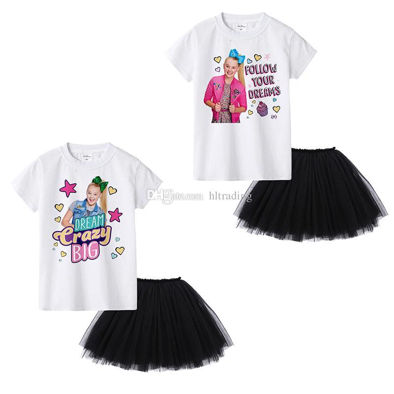 JOJO SIWA Summer Baby Girls abiti T-shirt manica corta bianca Top + gonne tutu nere 2 pezzi / set Boutique moda abbigliamento per bambini Set C6780