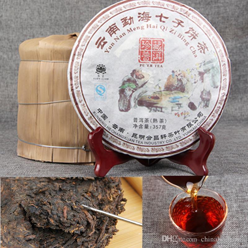 Бесплатная доставка Оптовые Pu'er чай Yunnan дерева Menghai Семь семян торт Коллекция Семь Хлебов Коллекция 357g Зрелый пуэр чай Старый Ароматные