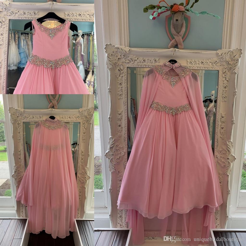 Розовый шифон Pageant платья для подростков 2020 с оберткой Bling стразы длинные Pageant платья для маленьких девочек молния назад формальная вечеринка Рози