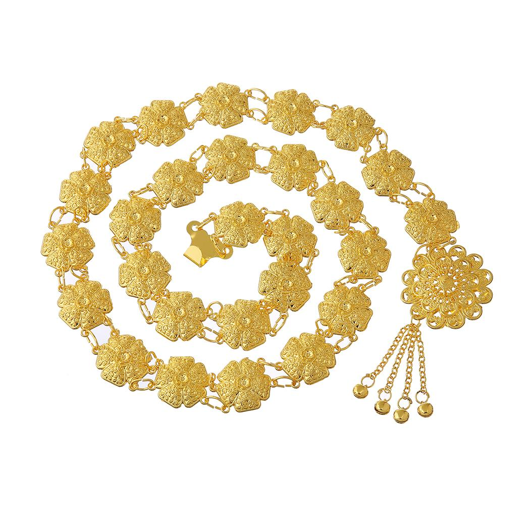 Turco Gypsy Oro Argento Lega fiore Handmade lunga catena nappa Corpo pendente catena Catena della vita per le donne