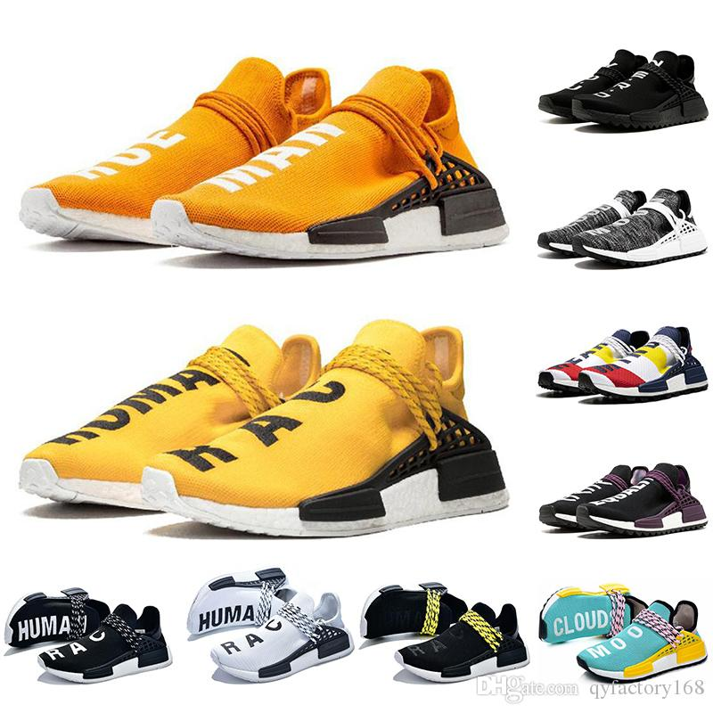With Socks Best Quality Human Race Running Shoes Men Women Runner Yellow Black White Red Grey Blue Casual Sports Sneakers Mens Trainer