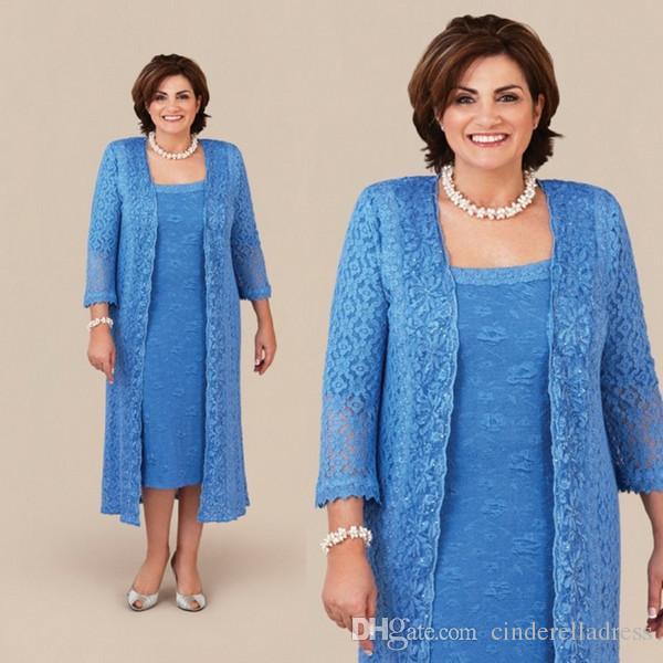 Elegant Plus Size Blue Lace Mother Of The Bride Dresses 2019 With Long Jacket 2 Pieces Women Tea Length Long Sleeve Wedding Guest Dress