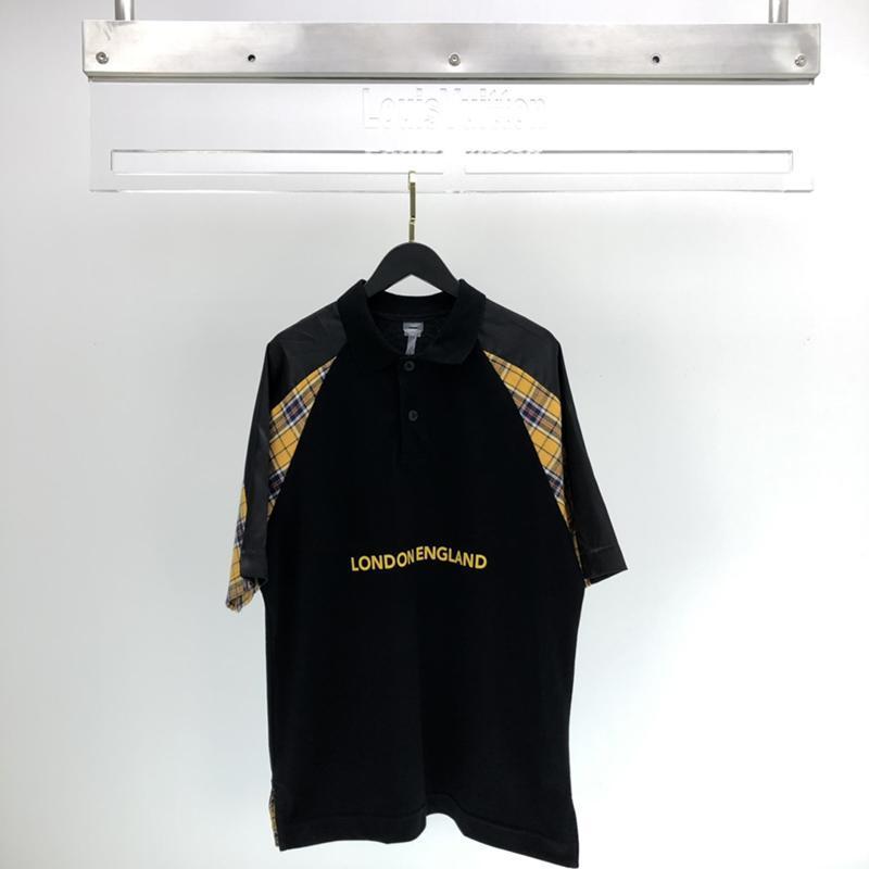 2020 verano de lujo Europa algodón de la manera PIQUE Seda Patchwork Tejidos polo de la camiseta de los hombres Camiseta de las mujeres algodón ocasional T Polos