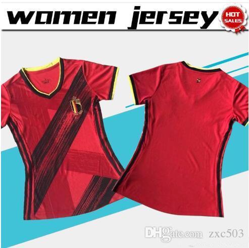 Femmes Maillots Belgique Soccer Jersey 20/21 maison rouge femme football shirt # 9 R.LUKAKU # 10 E.HAZARD personnalisé 2020 fille football Uniforme
