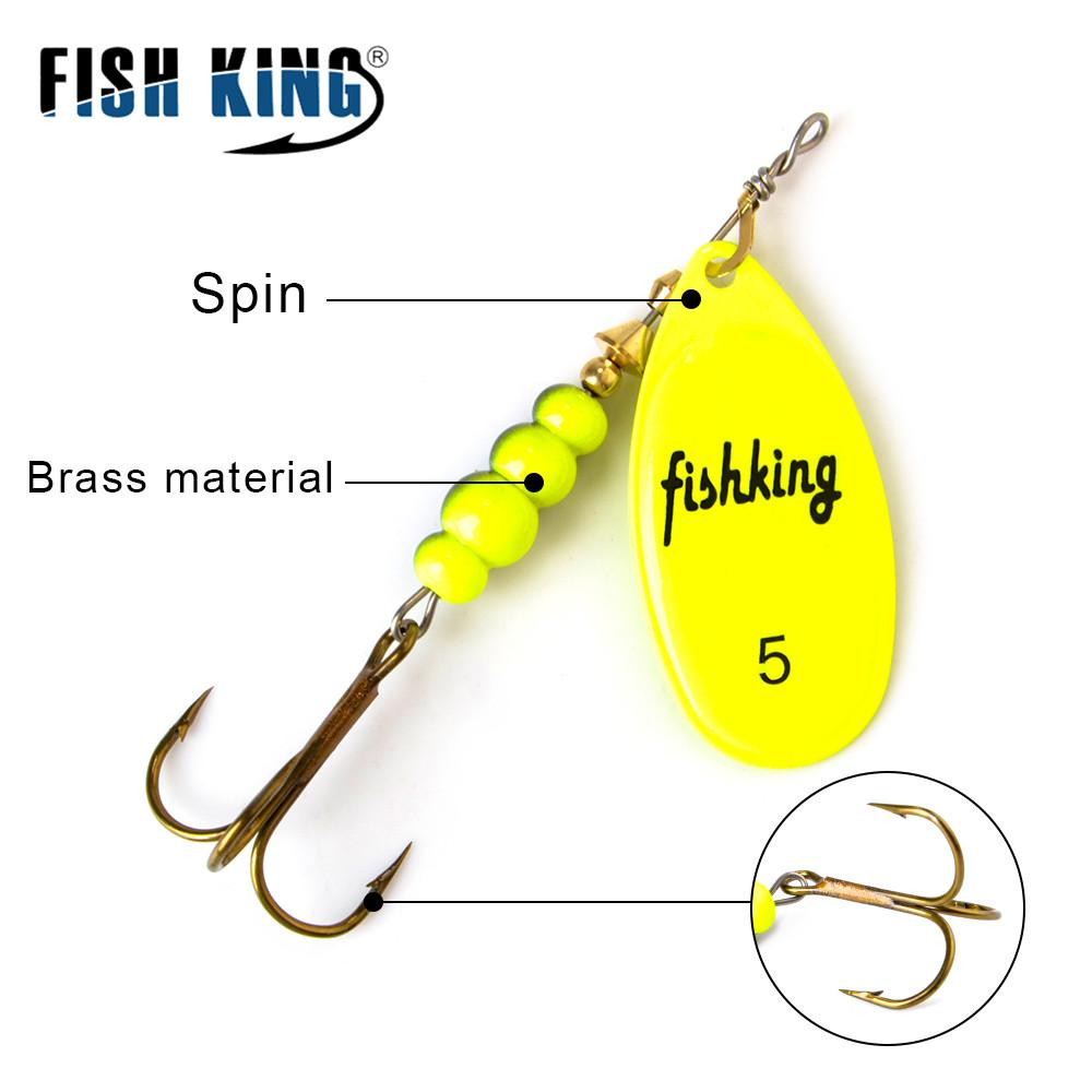 FISH KING Spinner 3.9 4.6 7.4 10.8 15g Spoon Lures pike Metal With Treble Hooks Arttificial Bass Bait Fishing Lure