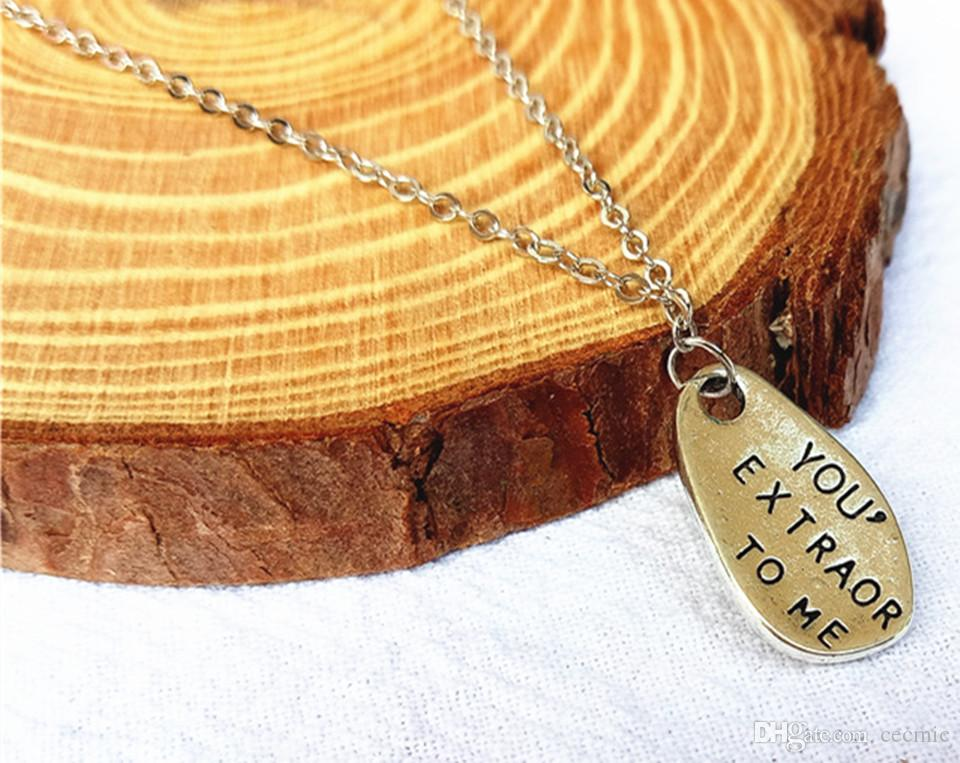 cecmic vintage quality silver boy jewellery necklace pendant with special letters men and women for sale
