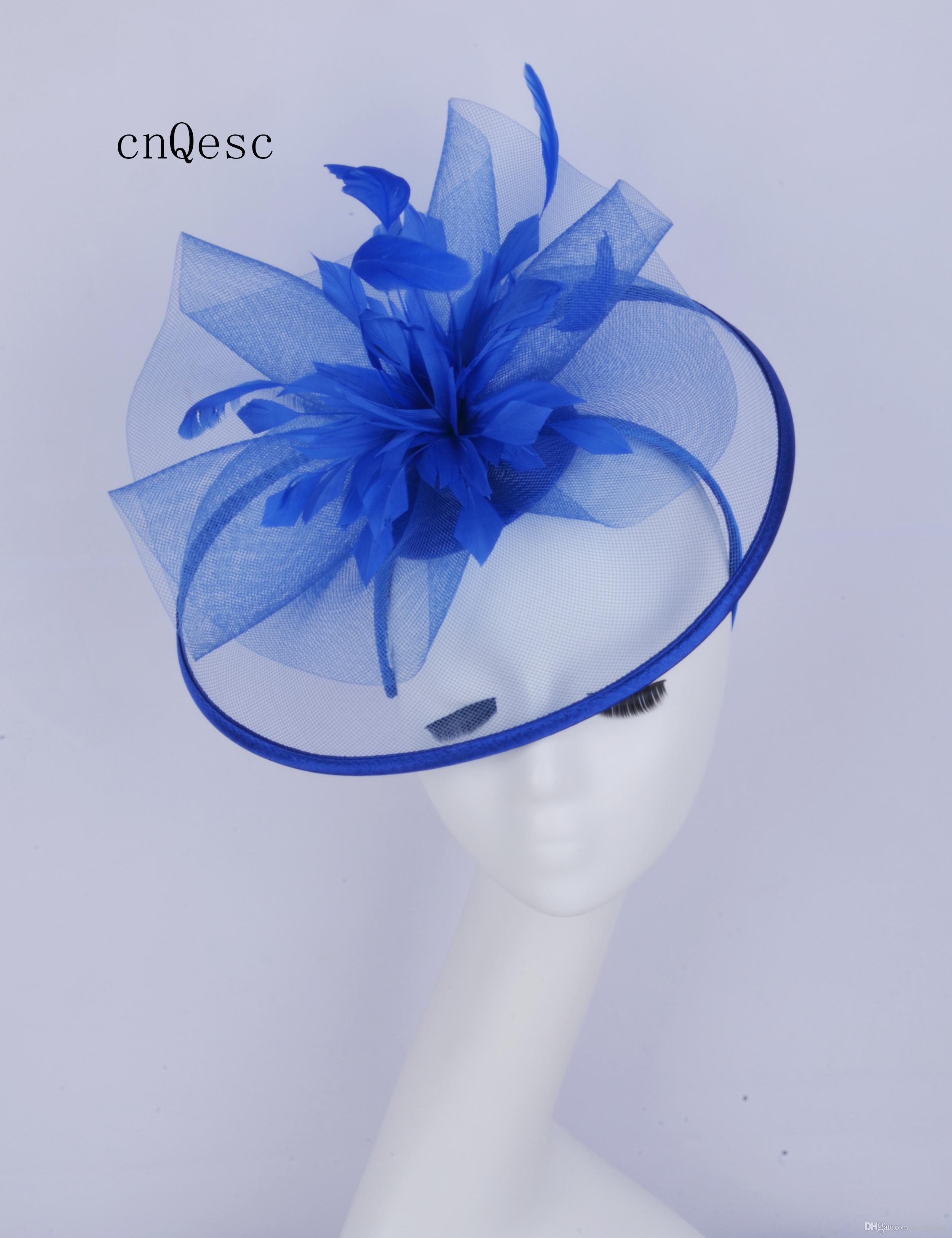2019 BIG Royal blue Abito da cerimonia per donna cappello crin fascinator Kentucky Derby gare di nozze doccia nuziale madre della sposa con piuma flowe.