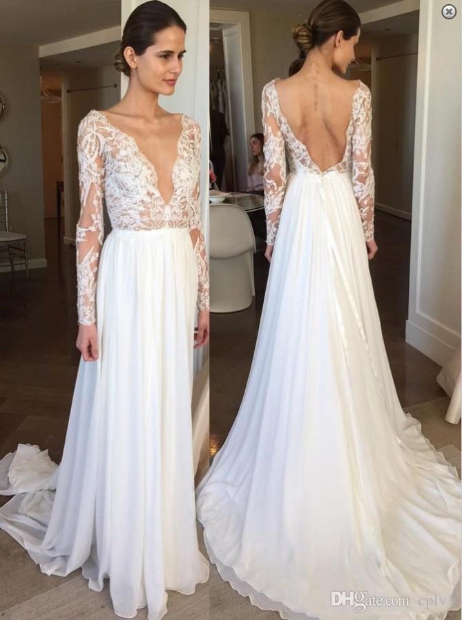 Yeni Varış Gelinlik V Boyun Dantel Uzun Kollu Tül Keyhole Geri Ülke Tasarımcı Düğün Resepsiyon Elbise Gelinlikler Ucuz H058