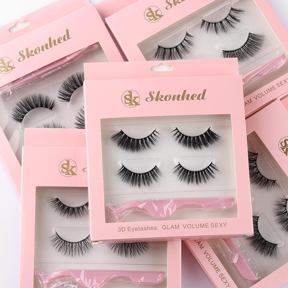 2 Pairs/set 3D Mink Hair Soft Single and Mixed Style False Eyelashes With 1 Tweezer Wispy Thick Lashes Extension Makeup Tools