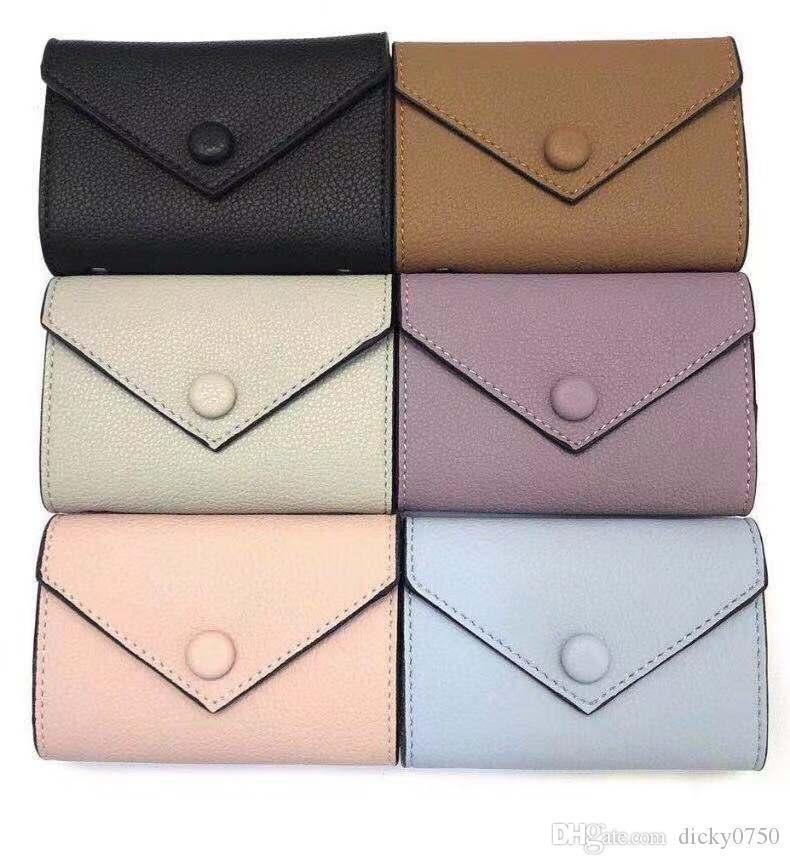 Kadınlar için toptan deri cüzdan renkli tasarımcı kısa cüzdan Kart sahibinin kadın çanta klasik fermuarlı cebi Victorine