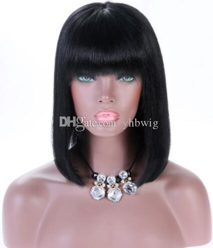 Celebrity Wig Lace Front Wig with Bang Long Bob Cut 10A Malaysian Human Hair Full Lace Wigs for Black Women Fast Free Shipping