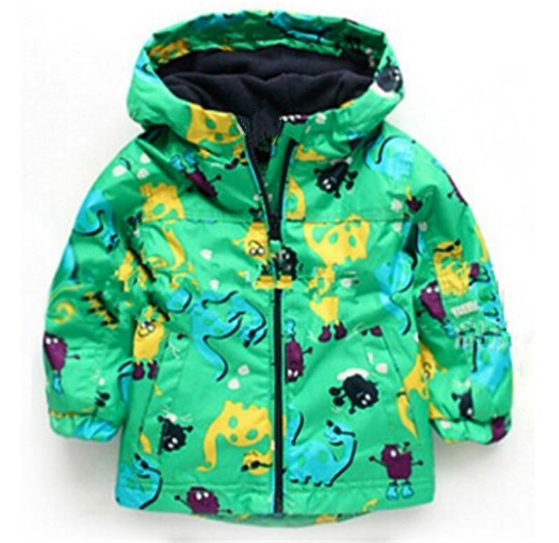 아이들 가을 겨울 겉옷 의류 소년 공룡 두건을 한 Rainsuit 비옷 아기 아이 아이 스포츠 복장 재킷 외투