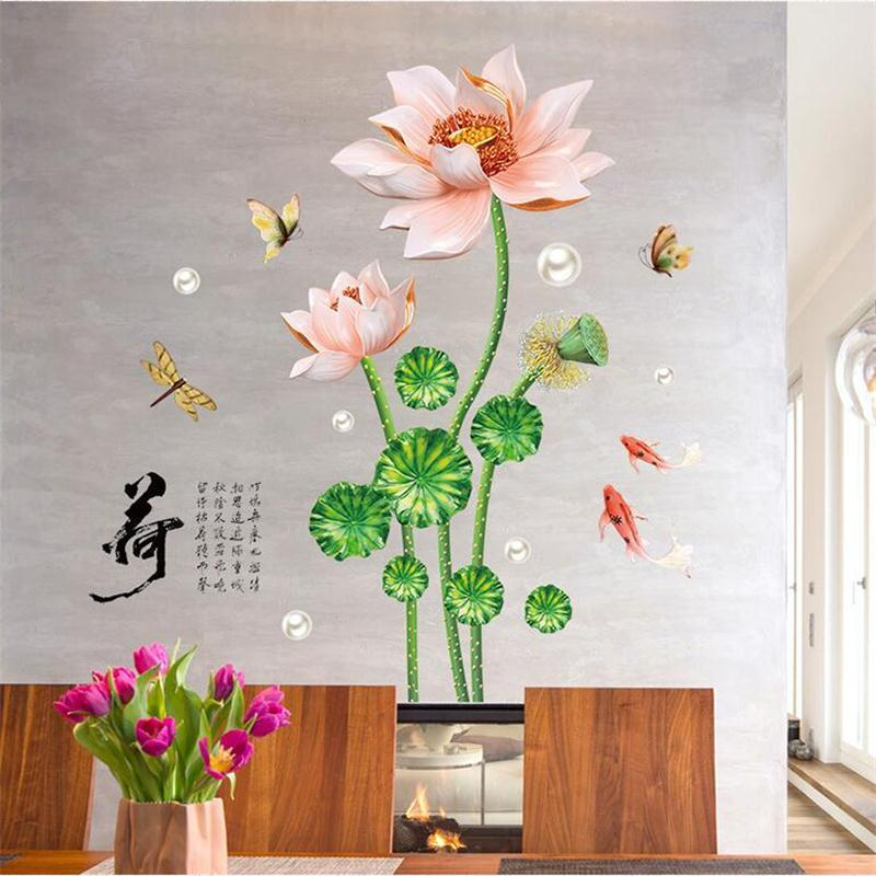 Chinese Style 3D Lotus Flower Butterflies Fish Wall Sticker Home Decor Living Room TV Sofa Wall Art Mural DIY PVC Plants Poster