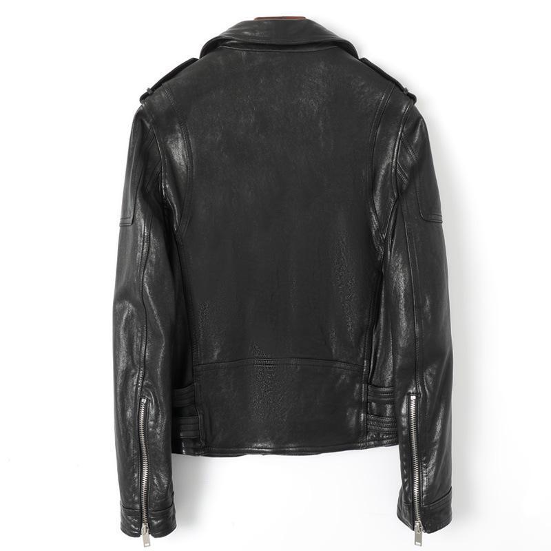Motorista de la motocicleta 100% genuino chaqueta de cuero de los hombres a estrenar del estilo punky de piel de oveja ajuste delgado corto invierno prendas de vestir exteriores de la solapa del tamaño extra grande