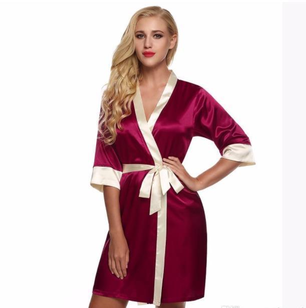 Womens Sexy Silk Rayon Kimono Pijama macio vestido Pijamas Sexy Banho 8 fotos Localizar Semelhante Lingeries Mulher Acima do joelho Mini Pijamas